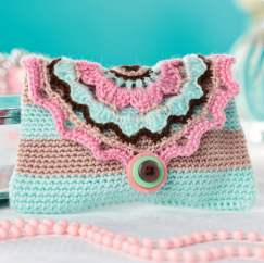 Stripy crochet purse