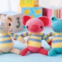 Three amigurumi animals