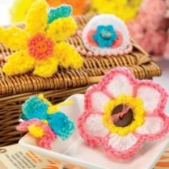 Crochet flower and butterfly brooches