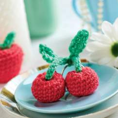 Crochet fruit keyring charms