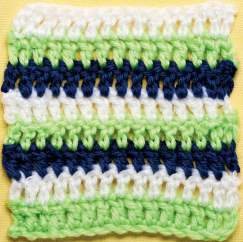 Stripy treble granny square