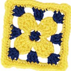 Golden flower granny square
