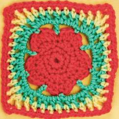 Red flower granny square