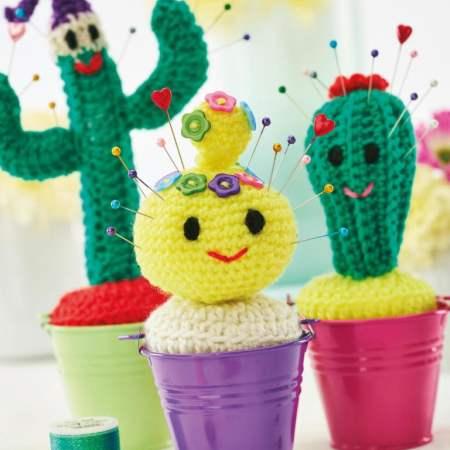 Crocheted Cactus Pincushion Soft Stuffed Amigurumi approx 4.5 in ... | 450x450