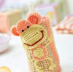Crochet baby bottle cosy