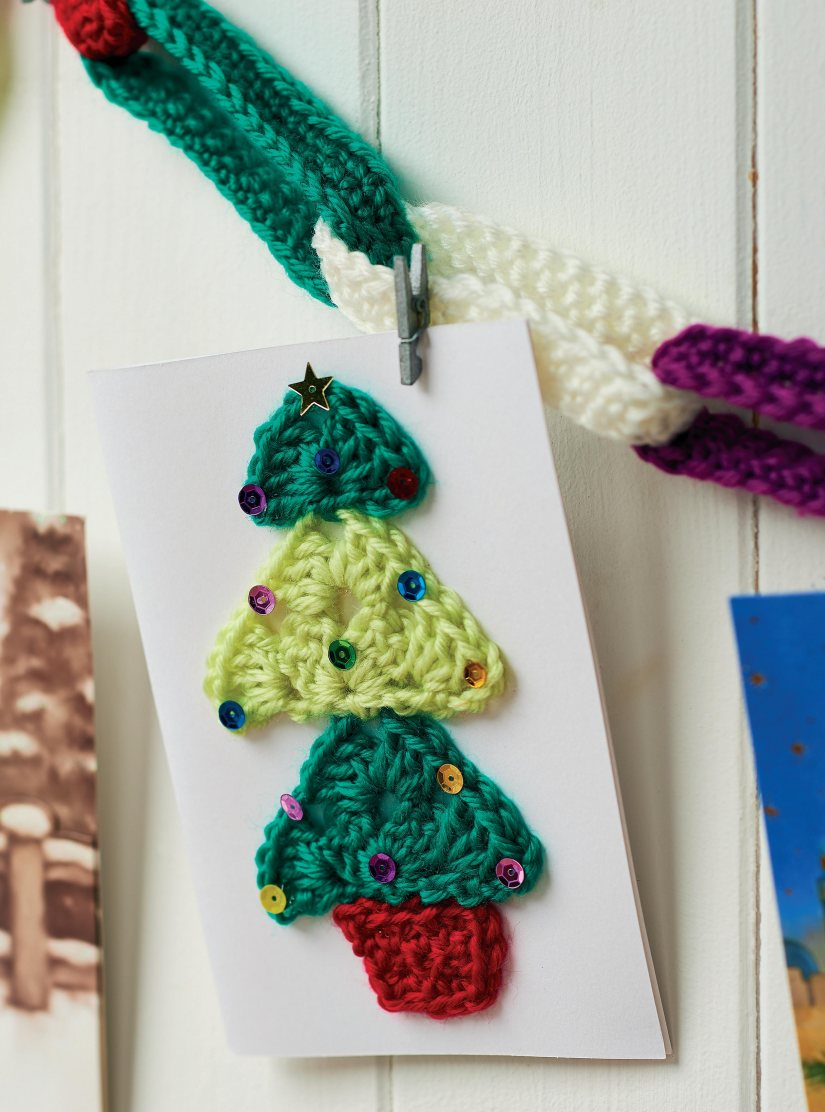 Crochet christmas card embellishments
