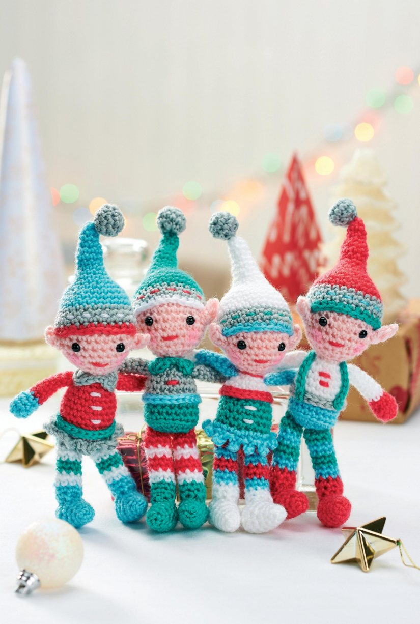 A family of crocheted Christmas elves
