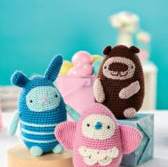 Crochet bird, bunny and bear