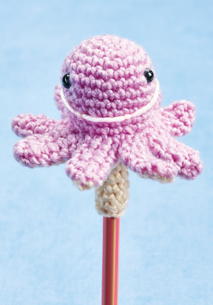 Crochet pencil toppers