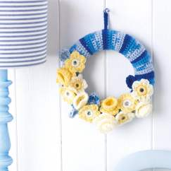 Floral crochet wreath