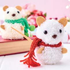 Holly & Berry Pom-pom Mice