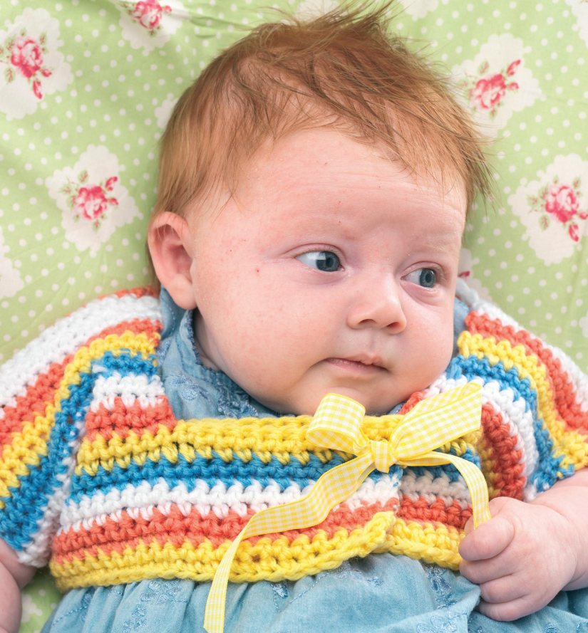 Striped crochet baby bolero Crochet Pattern