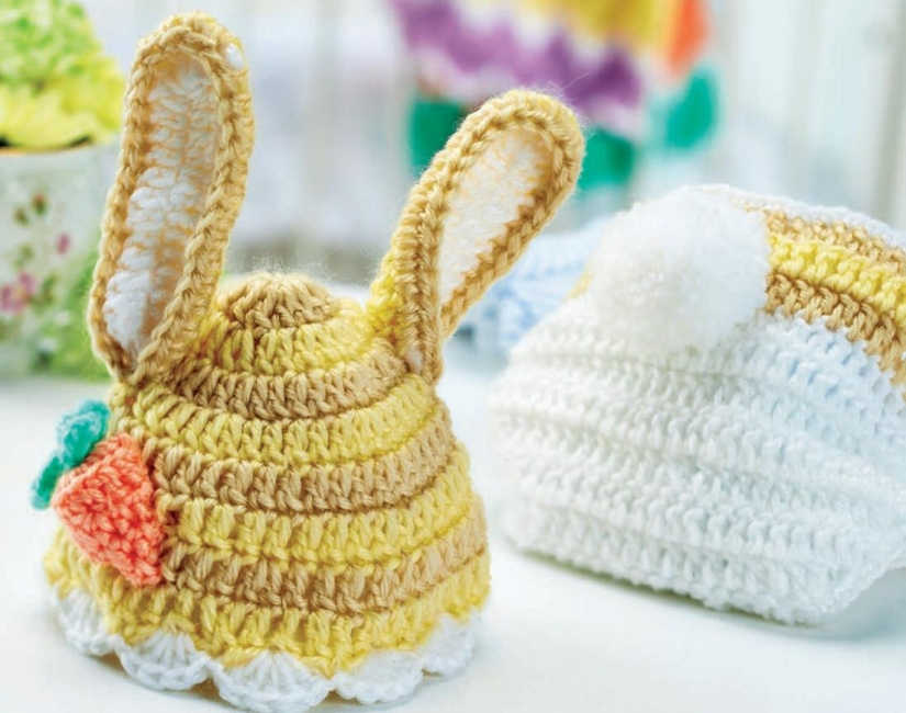 Crochet bunny baby hat and nappy cover