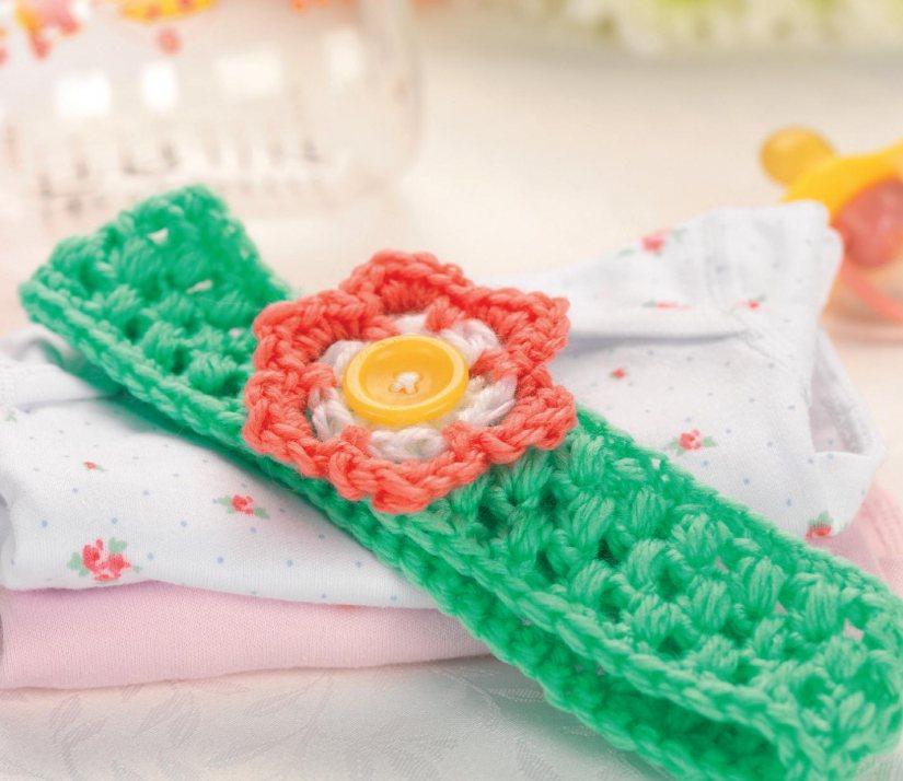 Free Crochet Pattern Baby Football Cocoon : Crochet flower baby headband Crochet Pattern