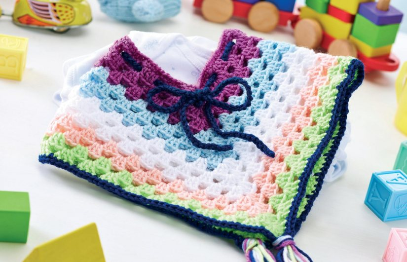 How To Download Free Crochet Patterns : Cheerful crochet baby poncho Crochet Pattern