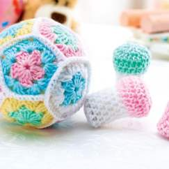 Crochet bowling ball and pins