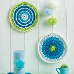Circle crochet mandalas for coasters or wall art