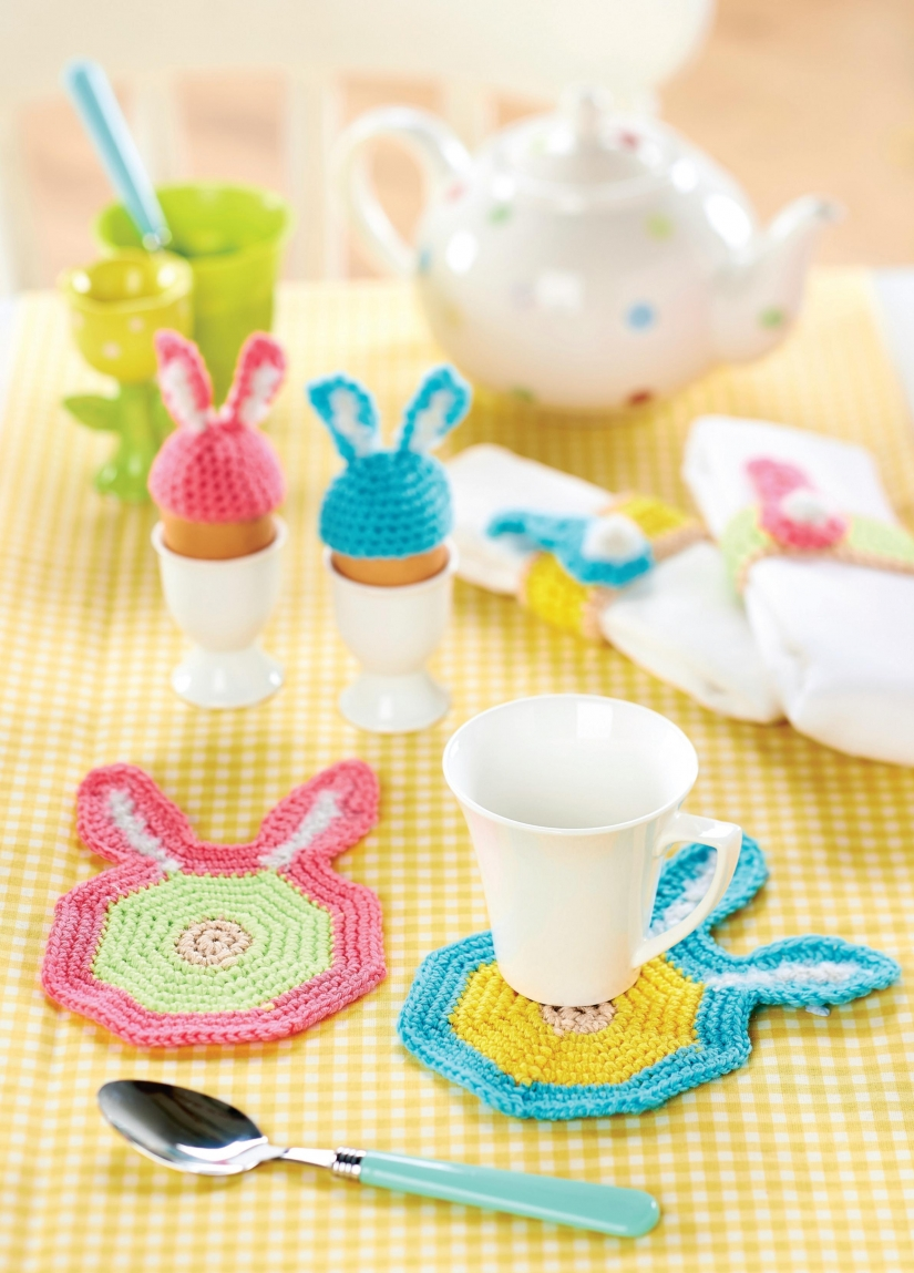 Crochet coasters, egg cosies and napkin rings