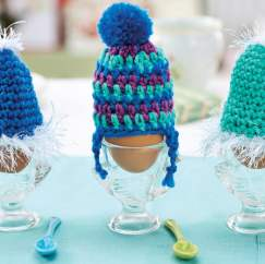 Beginner crochet egg cosies