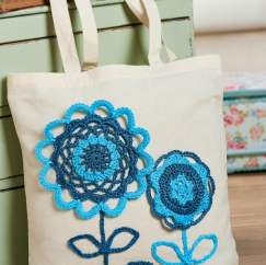 Crochet flower bag embellishment