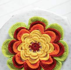 Frilly crochet flower decoration
