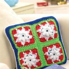 Snowflake granny square scatter cushion