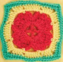 Red heart granny square