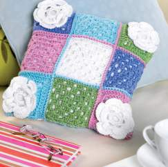 Floral granny square cushion