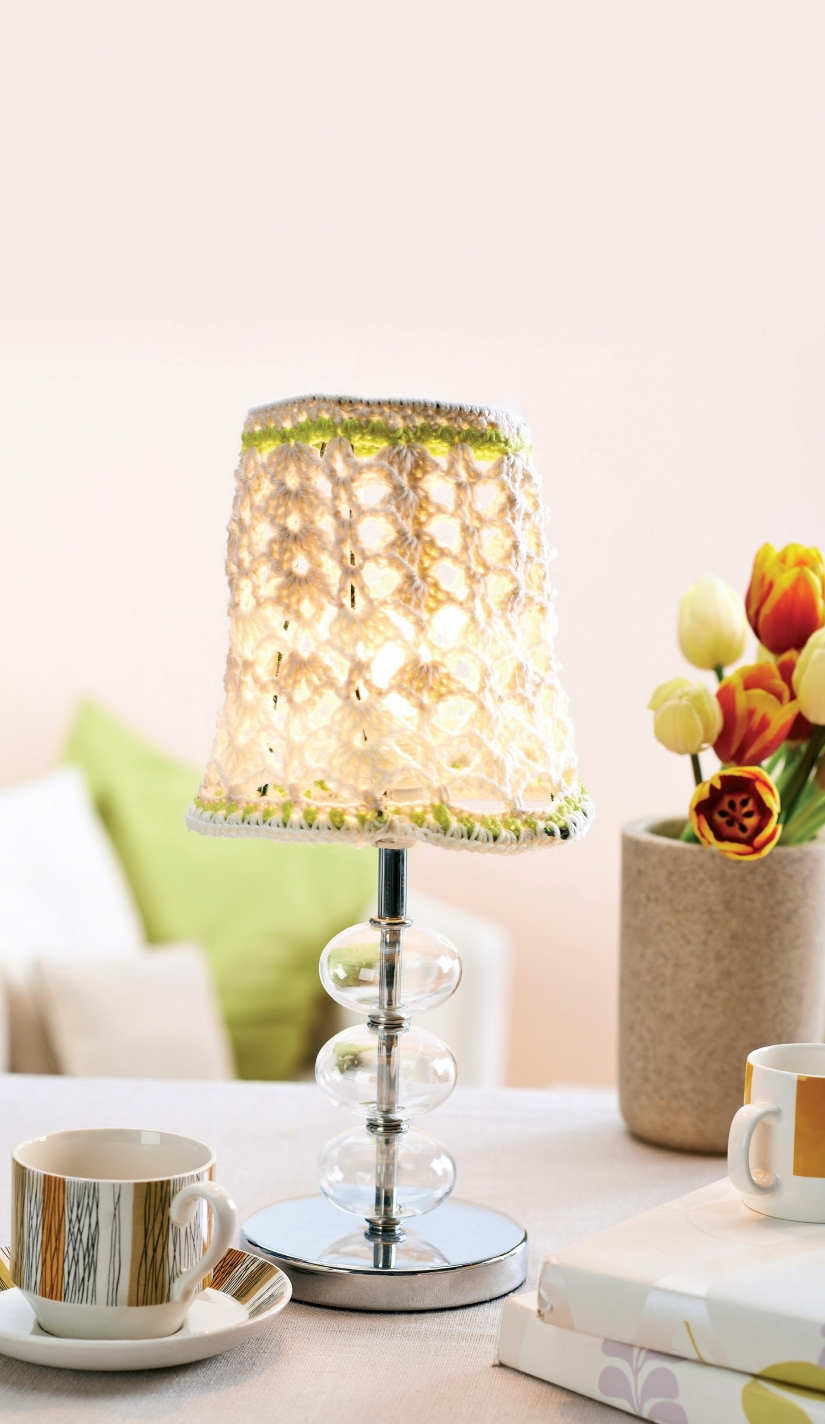 Lacy crochet lampshade cover