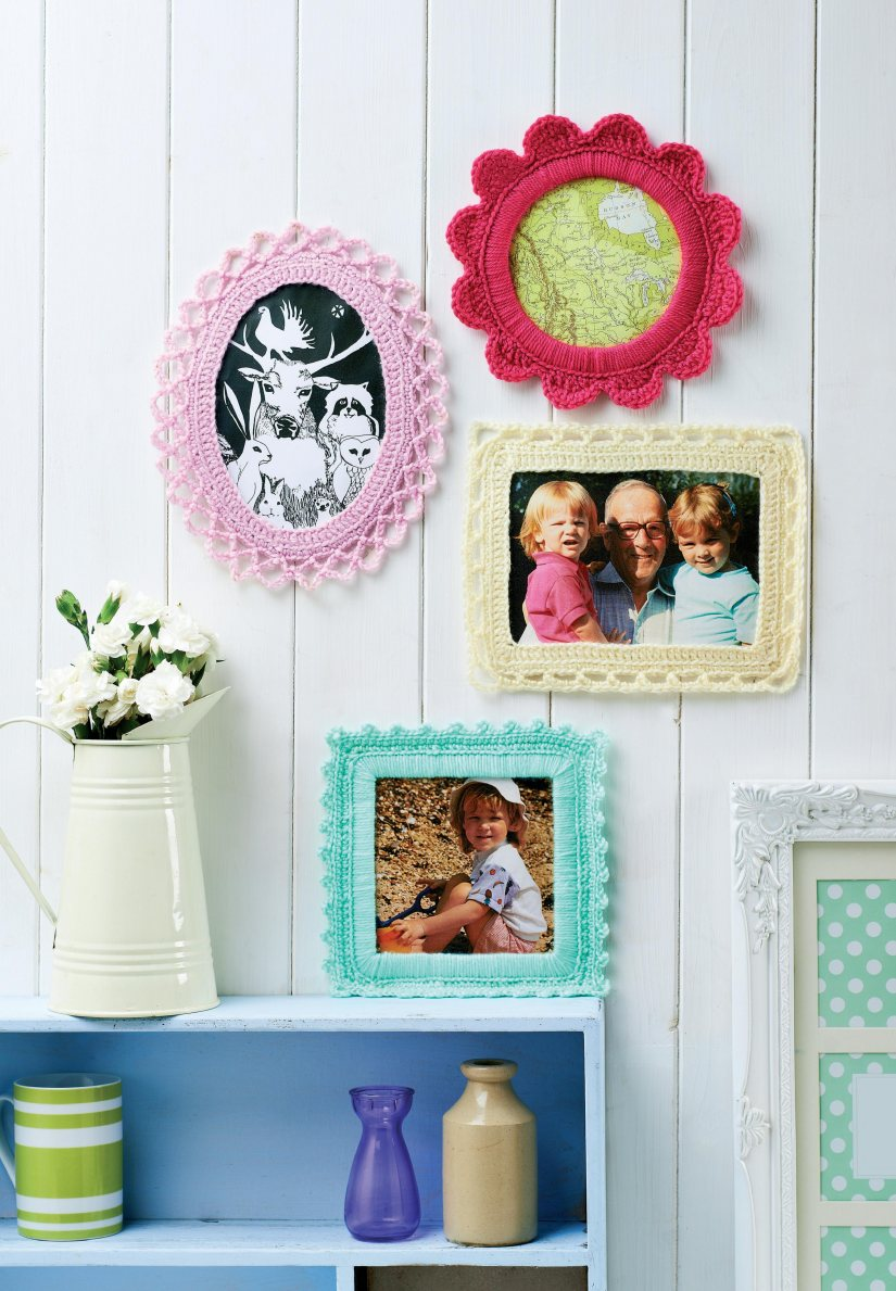 Fancy crochet picture frames