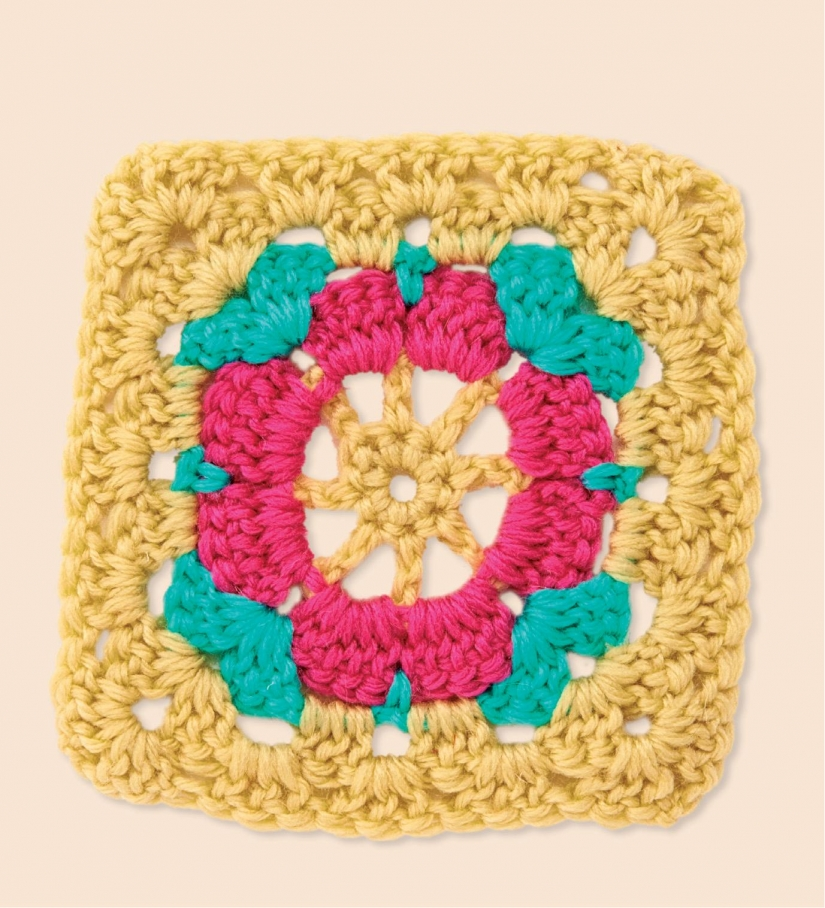 Pink flower granny square