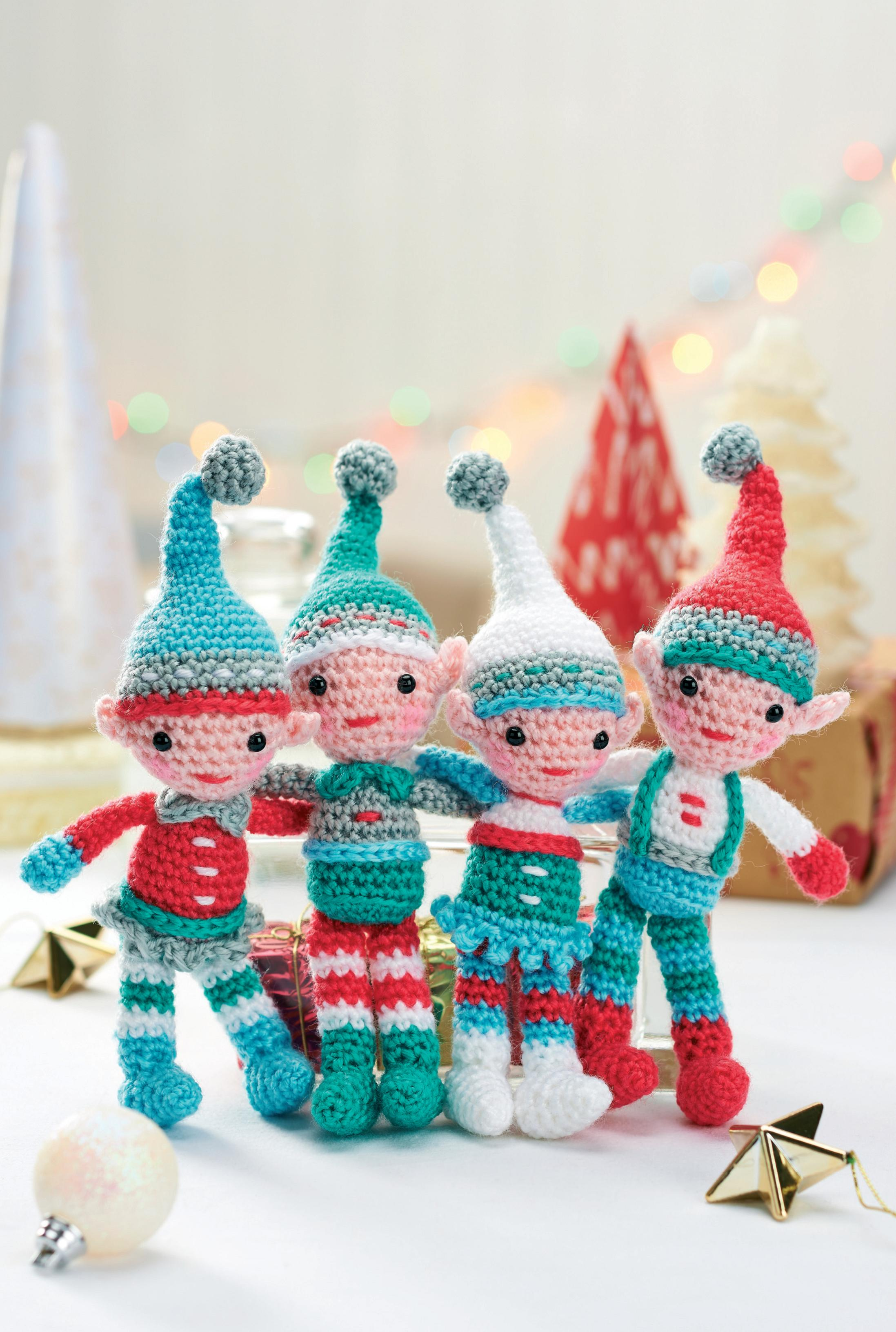 A family of crocheted Christmas elves Crochet Pattern