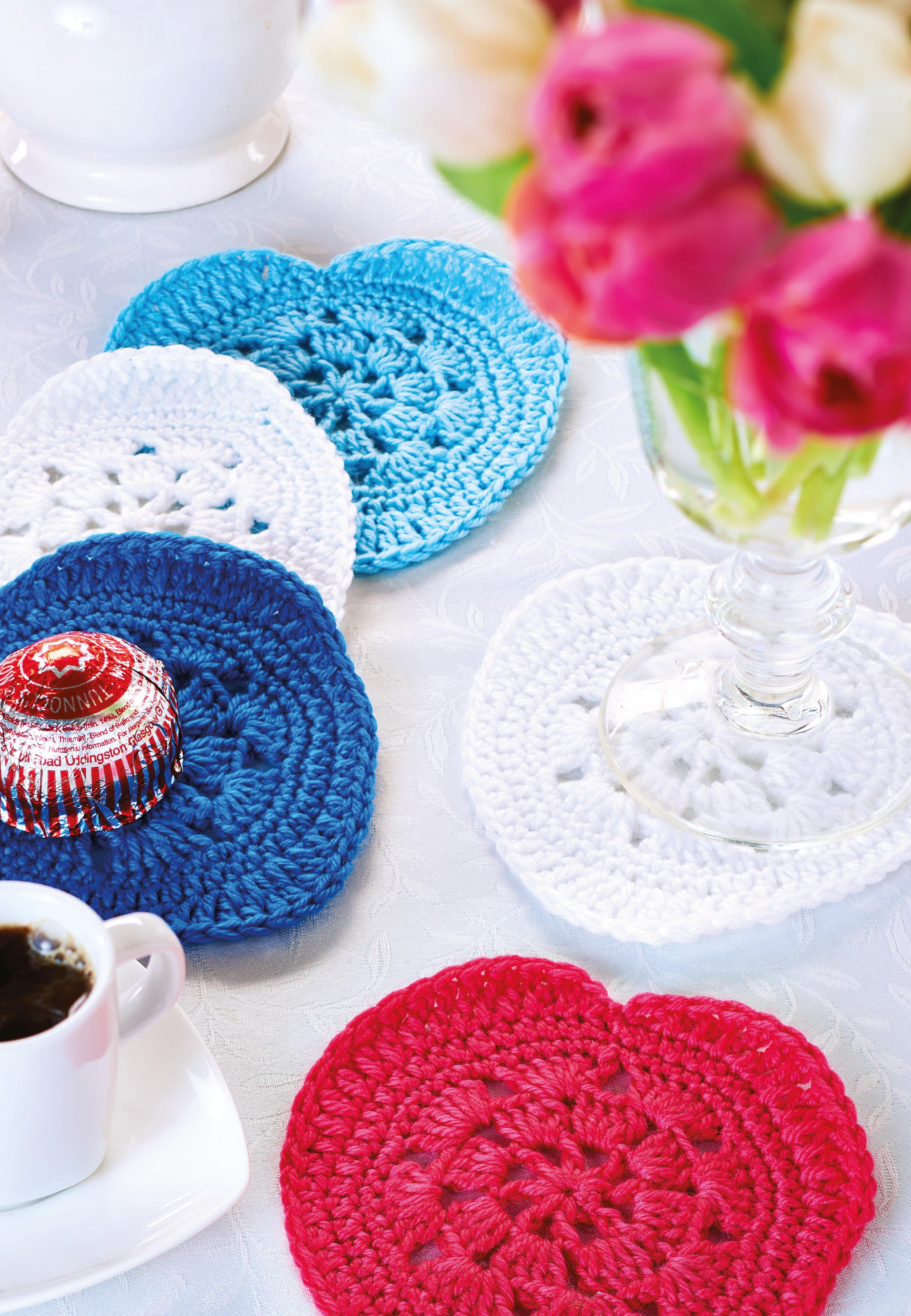 Heart Coaster Knitting Pattern : Heart coasters Crochet Pattern
