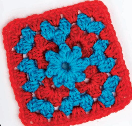Blue starburst granny square